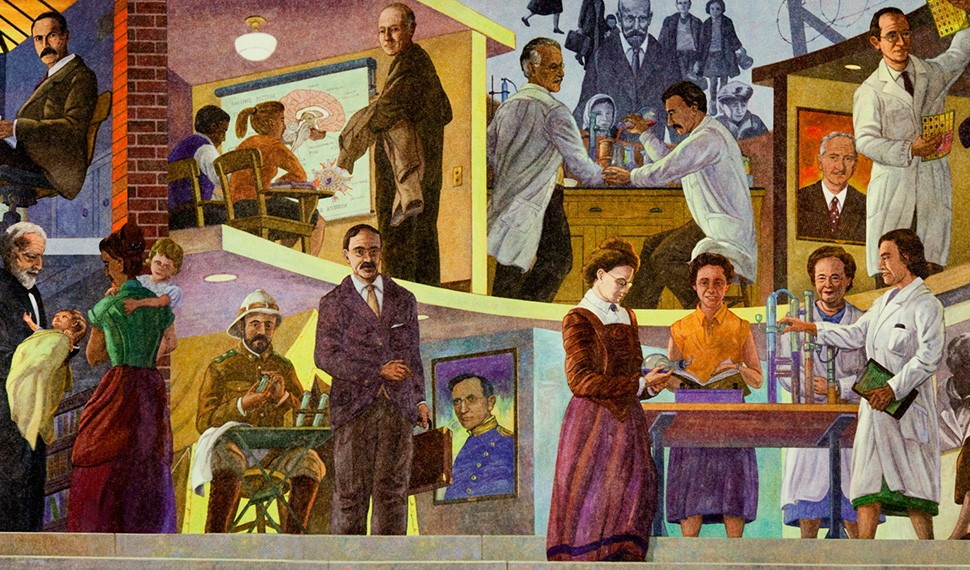 The extensive contributions to medical learning, research and practice by men and women in Jewish history are featured in Terry Schoonhoven's unusual mural.