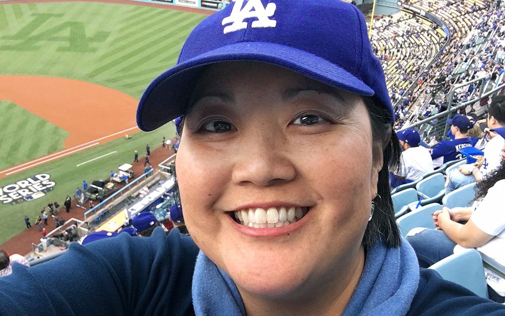 Physical therapist Jodi Hirata at a Dodgers World Series game.