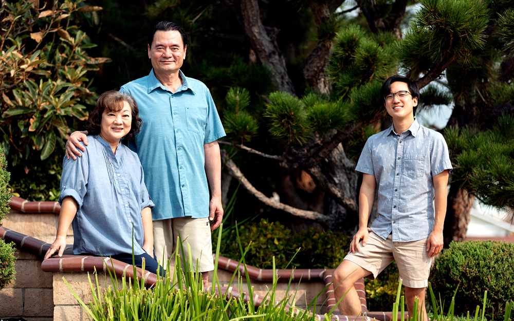 Nurse Jeffrey Chu, on right, and his family after surviving COVID-19.