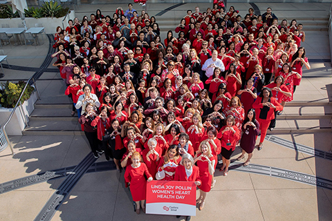 Cedars-Sinai health professionals dressed in red to show support for heart disease, the No. 1 killer of women.